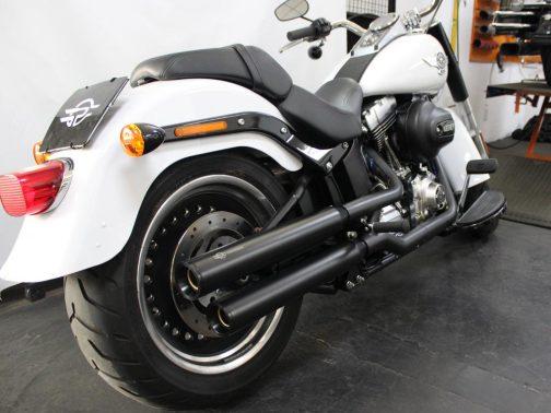 """Ponteiras para Harley Davidson Fat Boy 3"""" Corte RetoT-Black com Terminais Pretos"""