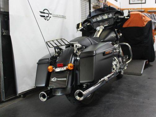 Ponteiras para Harley Davidson Touring Street Glide Corte Reto Cromadas com Terminais Cromados