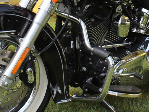 Protetor de Motor para Harley Davidson Heritage Moustache Cromado com apoio em borracha