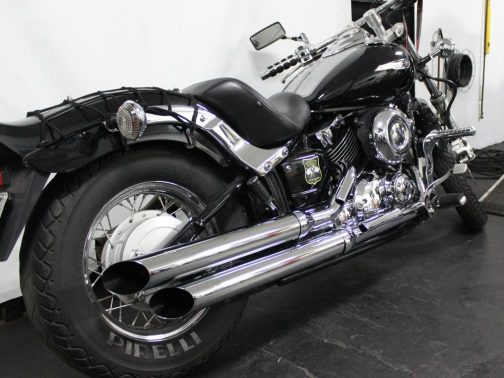 """Escapamento para Yamaha Dragstar 650 3"""" Corte Lateral Cromado"""