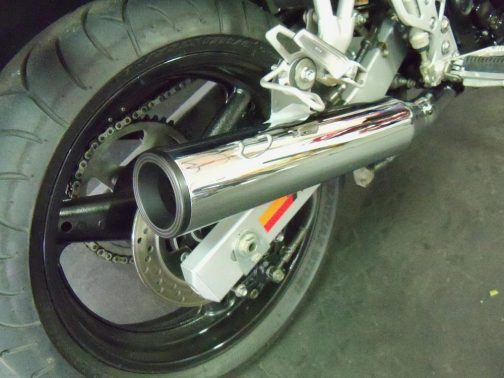 "Ponteira para Suzuki Bandit 650 3.5"" Corte Reto Cromada Terminais Pretos"